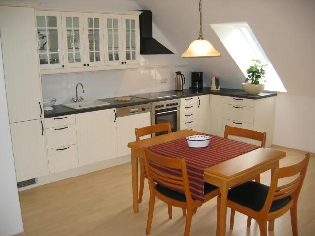 Küche einer Ferienwohnung des Gutshauses